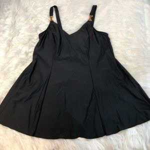 Christina Black One Piece Skirted Swim Suit